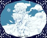2girls blue blush border bow cirno closed_eyes dress english hair_bow hair_ribbon harrymiao hat height_difference highres hug hug_from_behind ice ice_wings letty_whiterock long_hair multiple_girls necktie open_mouth ribbon scarf short_hair simple_background smile snowflakes touhou wings