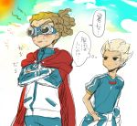 2boys black_eyes blonde_hair blush cape clothes_around_waist crossed_arms goggles gouenji_shuuya inazuma_eleven inazuma_eleven_(series) inazuma_japan jacket_around_waist kai_ri kidou_yuuto male_focus multiple_boys sketch sweat track_jacket translation_request