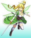 1girl bike_shorts blonde_hair boots breasts brown_boots fairy_wings green_eyes highres knee_boots leafa long_hair pointy_ears ponytail sheath sword sword_art_online weapon wings you_(maumauyo)