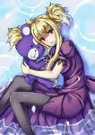 1girl animalization aoki_hagane_no_arpeggio blonde_hair dress dual_persona hug kongou_(aoki_hagane_no_arpeggio) long_hair lying on_side partially_submerged pensuke red_eyes stuffed_animal stuffed_toy teddy_bear twintails water