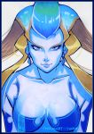 1girl blonde_hair blue_eyes blue_hair blue_skin border breasts collarbone earrings eyelashes final_fantasy final_fantasy_viii jewelry lips long_hair looking_at_viewer marker_(medium) multicolored_hair nose shiva_(final_fantasy) solo tholia traditional_media two-tone_hair