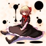 1girl blonde_hair bow hair_bow highres inkblot red_eyes rumia s-syogo scarf shirt sitting skirt skirt_set solo touhou vest