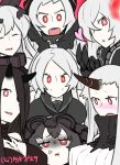 6+girls :d airfield_hime anchorage_oni anger_vein armored_aircraft_carrier_oni battleship-symbiotic_hime black_hair breast_envy breasts hair_ribbon hairband hamu_koutarou horn horns isolated_island_oni kantai_collection lolita_hairband long_hair multiple_girls open_mouth red_eyes ribbon seaport_hime shinkaisei-kan sketch smile southern_ocean_war_oni white_hair white_skin