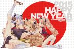 218 3girls animal_ears ankle_wraps armpits ass bandages barefoot blonde_hair breasts green_eyes hair_ornament hairclip highres horns large_breasts leg_lift legs_over_head legs_up long_hair multiple_girls nengajou new_year open_mouth original panties sandals sarashi sheep_ears sheep_horns short_hair silver_hair smile tattoo underwear