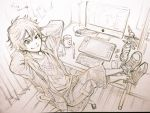 1boy big_hero_6 computer_screen graphite_(medium) hiro_hamada shorts solo toboso_yana traditional_media