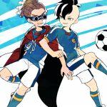 2boys ball cape fudou_akio goggles inazuma_eleven inazuma_eleven_(series) inazuma_japan kidou_yuuto male_focus multiple_boys saku_anna soccer_ball soccer_uniform sportswear telstar
