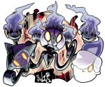 artist_name chandelure glowing glowing_eyes highres lampent litwick looking_at_viewer no_humans pokemon pokemon_(creature) sido_(slipknot) simple_background white_background