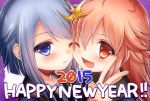 2015 2girls ;d blue_eyes blue_hair blush crescent_hair_ornament fang hair_ornament happy_new_year highres kantai_collection long_hair multiple_girls new_year one_eye_closed open_mouth red_eyes redhead rom smile uzuki_(kantai_collection) v yayoi_(kantai_collection)