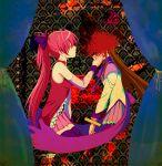 2girls akemi_homura black_hair flower hand_on_another's_face hiroshi_(kitaro) homulilly kneeling long_hair magical_girl mahou_shoujo_madoka_magica mahou_shoujo_madoka_magica_movie multiple_girls ponytail red_eyes redhead ribbon sakura_kyouko skirt spider_lily spoilers stocks