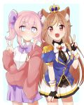 2girls animal_ear_fluff animal_ears bangs black_shirt blue_eyes blue_jacket bow brown_eyes cardigan collared_shirt commission crown english_commentary hazumi_aileen highres indie_virtual_youtuber jacket lion_ears lion_girl looking_at_viewer military military_uniform minoco_(sana_moko) multiple_girls muushiboo purple_bow purple_skirt red_cardigan second-party_source shirt skeb_commission skirt sleeves_past_wrists smile twintails uniform v virtual_youtuber white_bow white_shirt white_skirt