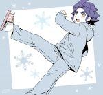 1boy aqua_eyes inazuma_eleven_(series) inazuma_eleven_go kicking male_focus mizuhara_aki no_pupils open_mouth purple_hair sandals short_hair snowflakes solo yukimura_hyouga