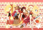4girls american_flag arm_warmers blonde_hair blue_eyes boots bow brown_eyes brown_hair brown_skirt cowboy_hat cure_art cure_continental earrings english_flag flower french_flag fringe hair_bow hair_flower hair_ornament happinesscharge_precure! hat heart heart_background hiragi_rin jewelry knee_boots long_hair magical_girl multiple_girls pink_skirt precure profile red_eyes red_haired_cure_(bomber_girls_precure)_(happinesscharge_precure!) red_skirt redhead ringlets short_hair skirt smile spanish_flag star thigh-highs twintails union_jack unknown_brown-haired_cure_(happinesscharge_precure!) white_boots white_legwear white_skirt