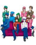 asahina_mitsuru_(adult) asakura_ryou beret cat couch genderswap hat koizumi_itsuki kyon kyonko_no_otouto male military military_uniform nagato_yuuki shamisen_(suzumiya_haruhi) student_council_president suzumiya_haruhi_no_yuuutsu suzumiya_haruhiko the_day_of_sagittarius tsuruya tsuruya-senpai uniform