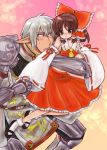 bow brown_eyes brown_hair buront couple crossover detached_sleeves elf elvaan final_fantasy final_fantasy_xi hakurei_reimu height_difference momo&a pointy_ears red_eyes short_hair silver_hair the_iron_of_yin_and_yang touhou