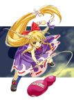 >:) >:d :d blonde_hair fang fighting_stance gourd horns ibuki_suika leaning_forward long_hair nakajimayou open_mouth outstretched_arms smile solo spread_arms touhou yellow_eyes