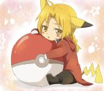 1boy bad_id blonde_hair costume edward_elric fullmetal_alchemist male maruki_(punchiki) pikachu poke_ball pokemon solo yellow_eyes