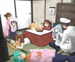 1boy 6+girls :t admiral_(kantai_collection) akatsuki_(kantai_collection) anchor_symbol annoyed aqua_hair black_legwear black_skirt blonde_hair blue_eyes brown_eyes brown_hair cabinet calendar_(object) camisole casual cheek_poking eating flat_cap folded_ponytail food fruit game_&_watch ganondorf gloves green_hair hair_ornament hairclip hat head_rest headgear hibiki_(kantai_collection) ikazuchi_(kantai_collection) inazuma_(kantai_collection) indoors kantai_collection kneeling kotatsu long_hair long_sleeves lying mandarin_orange mario max_melon_teitoku military military_uniform mr._game_&_watch multiple_girls naval_uniform neckerchief nintendo nintendo_3ds on_stomach pajamas pants pantyhose peaked_cap pillow pillow_hug playing pleated_skirt poking prinz_eugen_(kantai_collection) purple_hair ribbed_sweater ryuujou_(kantai_collection) sailor_collar school_uniform serafuku short_hair sitting skirt sleeping sleeves_past_wrists super_mario_bros. super_smash_bros. suzuya_(kantai_collection) sweater table tatami teasing the_legend_of_zelda turtleneck twintails under_kotatsu under_table undressing uniform wariza watching_television white_gloves