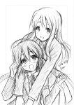 2girls :d black_hair blush dated hug hug_from_behind k-on! kotobuki_tsumugi long_hair long_sleeves mitarashi_kousei monochrome multiple_girls nakano_azusa open_mouth ribbon school_uniform signature sketch skirt smile sweatdrop twintails