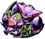 artist_name gligar gliscor highres looking_at_viewer no_humans orange_eyes pokemon pokemon_(creature) red_eyes sido_(slipknot) simple_background tongue tongue_out white_background