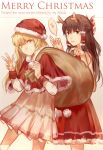 2girls antlers bag blonde_hair bow braid brown_eyes brown_hair capelet christmas dollar_sign dress engrish fake_antlers hair_bow hair_tubes hakurei_reimu hat highres kirisame_marisa long_hair looking_at_viewer merry_christmas multiple_girls open_mouth ranguage red_dress reindeer_antlers revision sack santa_costume santa_hat single_braid smile touhou typo very_long_hair white_dress yellow_eyes zicai_tang