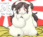1girl 2015 alternate_costume animal_costume animal_ears brown_hair cink-knic cosplay happy_new_year imaizumi_kagerou kigurumi long_hair looking_at_viewer new_year open_mouth pointing pointing_at_self ram red_eyes sheep_costume sitting solo touhou wolf_ears