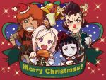 2boys 2girls afro amira_(shingeki_no_bahamut) antlers bangs bell black_eyes black_hair blue_eyes blunt_bangs blush braid capelet christmas cup dress favaro_leone food green_eyes hair_ornament hairclip hat kaisar_lidfald long_hair meat multiple_boys multiple_girls official_art pale_skin pink_hair pompadour red_nose redhead rita_(shingeki_no_bahamut:_genesis) santa_hat scar shingeki_no_bahamut shingeki_no_bahamut:_genesis short_hair smile stitches top_hat twintails violet_eyes