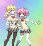 2girls blonde_hair blush bow breasts drill_hair evuoaniramu gloves hair_ornament hair_ribbon hairpin heal_ball highres huge_breasts kaname_madoka kneehighs mahou_shoujo_madoka_magica moon_ball multiple_girls open_mouth pantyhose parody pink_eyes pink_hair poke_ball pokemon pokemon_(game) ribbon school_uniform short_hair short_twintails smile style_parody tomoe_mami twin_drills twintails yellow_eyes
