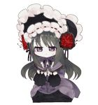 1girl akemi_homura black_hair chibi dress fc_(efushii) flower frown homulilly long_hair mahou_shoujo_madoka_magica mahou_shoujo_madoka_magica_movie simple_background solo spider_lily spoilers violet_eyes white_background witch_(madoka_magica)