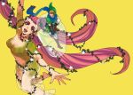 1boy 1girl blonde_hair boots breasts eyeshadow flower giantess great_fairy hat in_container jar link long_hair makeup no_nipples ocarina_of_time pink_hair pointy_ears scarf see-through size_difference the_legend_of_zelda tri_tails vambraces very_long_hair yo_mo zelda_musou