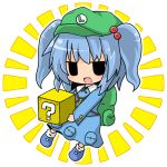 1girl ?_block backpack bag blue_hair chibi collared_shirt dress dress_shirt fang hair_bobbles hair_ornament hat jitome kawashiro_nitori key open_mouth pocket shirt simple_background solid_oval_eyes solo super_mario_bros. touhou twintails