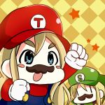 2girls :o arm_up artist_request blonde_hair blue_eyes blush_stickers checkered checkered_background clenched_hand cosplay crossover eyebrows facial_hair fake_mustache hat k-on! kotobuki_tsumugi long_hair luigi luigi_(cosplay) mario mario_(cosplay) multiple_girls mustache open_mouth overalls saitou_sumire star star_print super_mario_bros. |_|