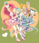 4girls bingdu_3927 blonde_hair blue_hair boots bow choker chypre_(heartcatch_precure!) closed_eyes coffret_(heartcatch_precure!) cure_blossom cure_marine cure_moonlight cure_sunshine earrings flower_earrings hair_bow hanasaki_tsubomi heartcatch_precure! highres holding_hands jewelry kurumi_erika long_hair magical_girl multiple_girls myoudouin_itsuki pink_hair ponytail potpourri_(heartcatch_precure!) precure puffy_short_sleeves puffy_sleeves purple_hair short_sleeves smile thigh-highs tsukikage_yuri twintails very_long_hair violet_eyes white_legwear wrist_cuffs yellow_eyes
