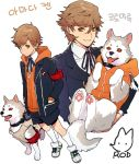 2boys amada_ken brown_eyes brown_hair collar dog dual_persona koromaru multiple_boys persona persona_3 persona_4:_the_ultimate_in_mayonaka_arena persona_4:_the_ultimax_ultra_suplex_hold rod_(rod4817) school_uniform shoes sneakers vest