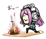 1girl chibi closed_eyes dark_souls headphones lowres minoa_(lastswallow) nitroplus open_mouth pink_hair solo souls_(from_software) super_sonico sword thigh-highs weapon