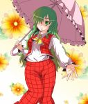 1girl ascot blush breasts collared_shirt floral_background green_eyes green_hair hair_over_one_eye head_tilt highres kazami_yuuka kazami_yuuka_(pc-98) knees_together_feet_apart long_hair long_sleeves looking_at_viewer open_hand outstretched_arm parasol plaid plaid_pants plaid_vest shade smile solo standing touhou touhou_(pc-98) umbrella utakata_(azaka00)