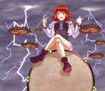 1girl breasts collared_shirt crossed_legs drum drumsticks highres hinagami horikawa_raiko instrument jacket lightning looking_at_viewer necktie open_mouth plaid plaid_shirt redhead shoes short_hair sitting_on_drum skirt smile solo touhou violet_eyes