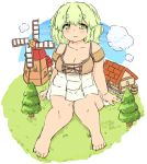 1girl barefoot barrel clouds eyebrows giantess green_eyes green_hair mikomu original plump solo tree windmill