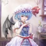 1girl ascot bat_wings blue_hair brooch cupboard earrings eyelashes fang_out fangs frilled_skirt frills hat hat_ribbon indoors jewelry light_smile lips looking_at_viewer mob_cap picture_frame pointy_ears puffy_short_sleeves puffy_sleeves red_eyes remilia_scarlet ribbon shadow short_hair short_sleeves sketch skirt solo steepled_fingers touhou txoxsxhxi vase vest wings