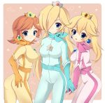 3girls artist_request ass belt bikesuit blonde_hair blue_eyes bodysuit breasts brown_hair crown earrings gloves hair_over_one_eye highres jewelry large_breasts long_hair mario_(series) mario_kart multiple_girls nintendo open_mouth ponytail princess_daisy princess_peach racing_suit rosalina_(mario) scarf short_hair skin_tight smile super_mario_bros. super_mario_galaxy