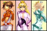 3girls :d belt bikesuit blonde_hair blue_eyes breakblack breasts brown_hair cleavage cowboy_shot crown earrings gloves green_eyes hair_over_one_eye hand_on_hip highres jewelry long_hair mario_(series) multiple_girls open_clothes open_mouth ponytail princess_daisy princess_peach rosalina_(mario) scarf sketch smile