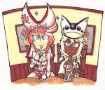 2girls aqua_eyes dark_skin elphelt_valentine food guilty_gear guilty_gear_xrd hat ice_cream multiple_girls painting_(object) ramlethal_valentine setz spoon sundae traditional_media yellow_eyes