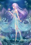 1girl air_bubble aqua_eyes dress flower from_side highres huanghyy lavender_hair long_hair lotus original profile ripples see-through solo tiptoes underwater water water_dress water_drop