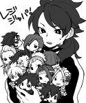 6+boys braid carrying chibi everyone fudou_akio gomaki_tetsurou grin hairband hakuryuu_(inazuma_eleven) headband inazuma_eleven_(series) inazuma_eleven_go inazuma_eleven_go_galaxy jacket kishibe_taiga kita_ichiban kurosaki_makoto long_hair mahoro_tadashi makari_ginjirou male_focus minamisawa_atsushi monochrome multiple_boys namikawa_rensuke open_mouth resistance_japan saku_anna scar scar_across_eye senguuji_yamato simple_background smile soccer_uniform sportswear sweat white_background yukimura_hyouga