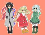 3girls alternate_costume asymmetrical_hair asymmetrical_wings black_hair blonde_hair blush boots coat crystal eyeball flandre_scarlet full_body gloves green_eyes green_hair grey_legwear houjuu_nue komeiji_koishi long_sleeves looking_at_viewer multiple_girls no_hat no_headwear orange_background pointy_ears ponytail red_eyes ribbon shimana_(cs-ts-az) short_hair side_ponytail simple_background string sweater text third_eye touhou turtleneck wings winter_clothes