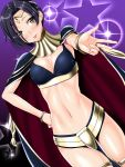 1girl :p anzu_(onelelee) armor bikini_armor black_hair blush bracelet breasts bridal_gauntlets cape circlet cleavage cosplay dutch_angle fire_emblem fire_emblem:_kakusei hand_on_hip highres jewelry kobayakawa_rinko love_plus outstretched_hand red_eyes short_hair skin_tight solo star tharja tharja_(cosplay) tongue tongue_out