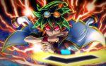 1boy card duel_disk glowing glowing_eyes goggles goggles_on_head green_hair jacket_on_shoulders jewelry pendant raijin-bh red_eyes redhead sakaki_yuuya solo yuu-gi-ou yuu-gi-ou_arc-v