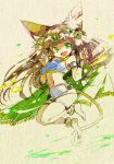 1girl :d animal_ears ankle anklet armlet bare_shoulders bastet_(p&d) bracer brown_hair cat_ears cat_tail dark_skin fang green_eyes hair_tubes headpiece jewelry long_hair minaminamina navel open_mouth puzzle_&_dragons skirt smile solo tail tubetop white_skirt