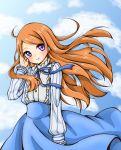 1girl blue_skirt blush frills kishikino long_hair long_skirt long_sleeves looking_at_viewer mawaru_penguindrum orange_hair ribbon skirt sky smile solo takakura_himari very_long_hair violet_eyes wind