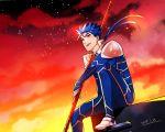1boy blue_hair dated earrings fate/stay_night fate_(series) gae_bolg highres jewelry lancer oekaki-daisuki-dessu polearm ponytail red_eyes short_hair sitting sky spear weapon