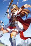 1girl armor blue_eyes brown_hair crazyodin highres long_hair moeru!_jiten official_art solo_focus weapon